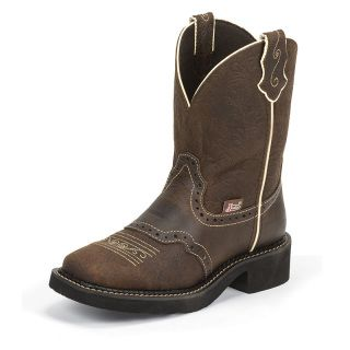 """Brown Flower Embossed is an 8-inch tall Women's Justin Gypsy® Classic boot with a wide square toe, a unit heel, and J-Flex Flexible Comfort System® insoles. They also have removable orthotic inserts. Upper:  8"""" BROWN FLOWER EMBOSSED Foot:     BROWN FLOWER EMBOSSED Toe:      J124 Wide Square Toe Heel:    Unit Heel - One Piece Molded Heel & Outsole Insole:  J-FLEX FLEXIBLE COMFORT SYSTEM® WITH REMOVABLE ORTHOTIC INSERT Outsole:  BLACK RUBBER"""