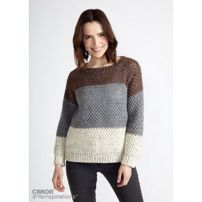 Stepping Stones Crochet Pullover - I would leave out that white to gray color change and just have contrast at the top.