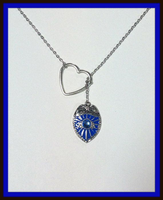Law Enforecement, Police Badge Lariat Necklace with Rhinestones and Heart, handmade jewelry, pendant