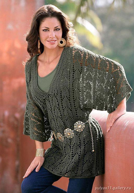 Crochet green tunic top ❤️LCT-MRS❤️ with diagrams --- Receitas de Crochet: Blusa manda morcego verde militar