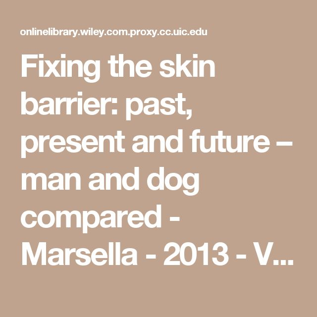 Fixing the skin barrier: past, present and future – man and dog compared - Marsella - 2013 - Veterinary Dermatology - Wiley Online Library
