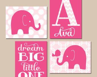 Arte de la pared del vivero de bebé niña rosa gris vivero