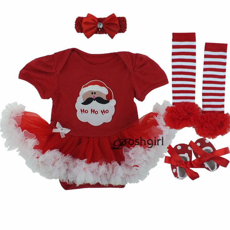 Christmas Baby Rompers Baby Girl's Minnie Mickey Dress Bodysuit Lace 4pcs sets…