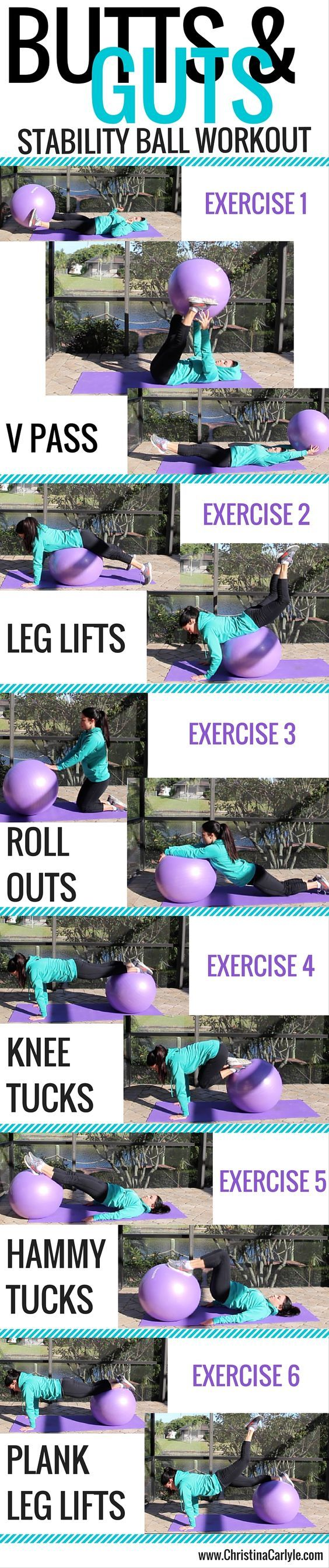 6 Best exercise ball workouts out there! Get an exercise ball today to start implementing these moves and tone your body quickly http://www.liveinfinitely.com/collections/all-products/products/anti-burst-exercise-ball