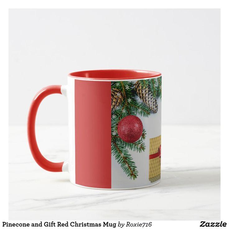 Pinecone and Gift Red Christmas Mug