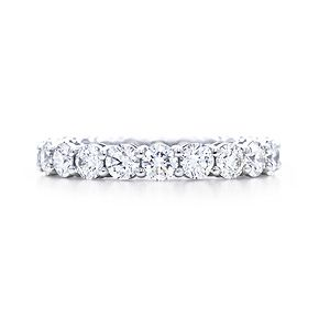 Wedding band- Tiffany shared setting diamond band ring, full circle. Platinum.