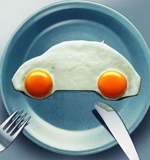 Sunny Side Up, handmadecharlotte. Image from a 2003 Volkswagen ad in Greece (via advertolog): Great idea! #Egg #VW