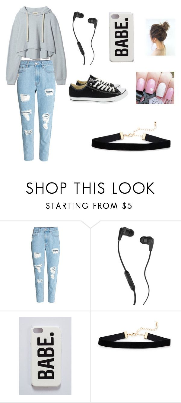 """cute and cozy"" by diaza8006 on Polyvore featuring H&M, Skullcandy and Converse"