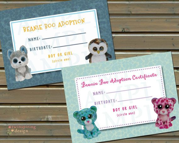 Beanie Boo Adoption Certificate INSTANT by TwinspiringDesign