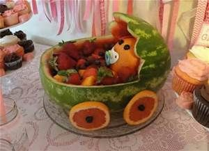 Planning A Baby Shower: Food: Watermelon Baby Carriage
