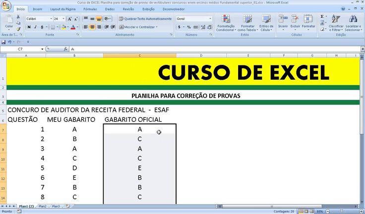 Como corrigir uma prova pelo gabarito de vestibular, concurso público, Exame Nacional do Ensino Médio Enem com a utilização da Planilha Excel. Curso de EXCEL.  https://youtu.be/XJvp948dIoI