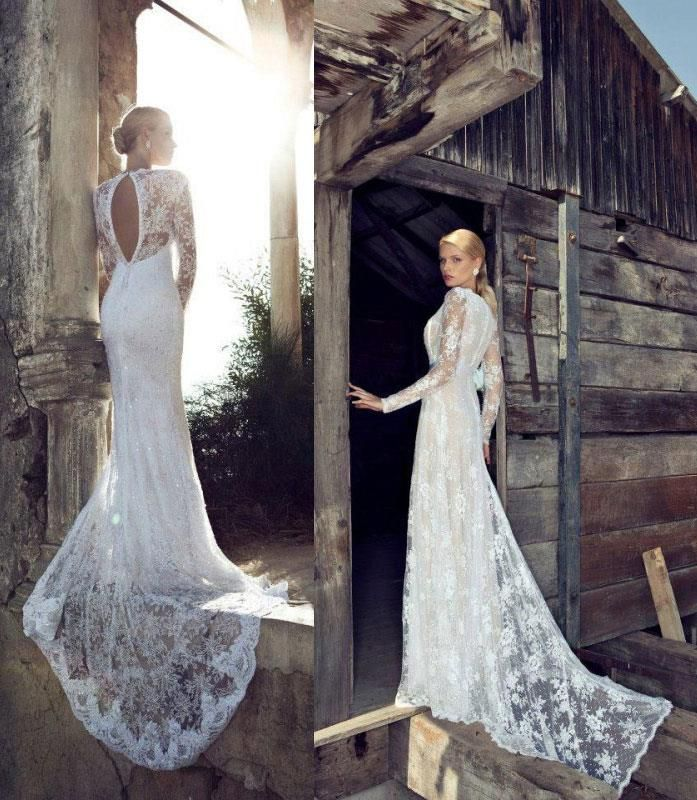 Long sleeve lace wedding gown fitted long train good for Beautiful fitted wedding dresses