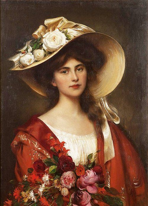 """Portrait of a Young Woman in a Hat Holding a Bouquet of Flowers"" by Albert Lynch (1851-1912)."
