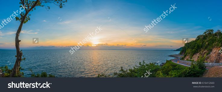 Panorama image of Noen-Nangphaya View Point on sunset time, Chanthaburi, Thailand