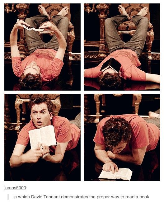 David Tennant teaches us proper book reading etiquette. How can one man be so adorable and sexy?!
