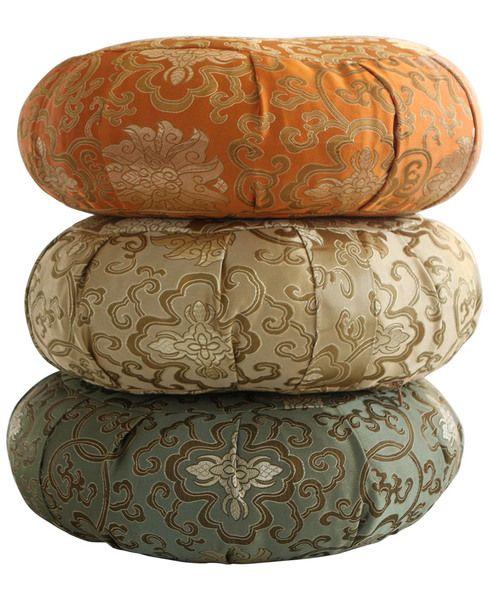 Tibetan Gold, Jade Green and Marigold orange tones brocade zafu cushions