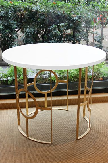 mesa auxiliar color blanco geomtrica hierro redonda iron side table white color golden circle geometry