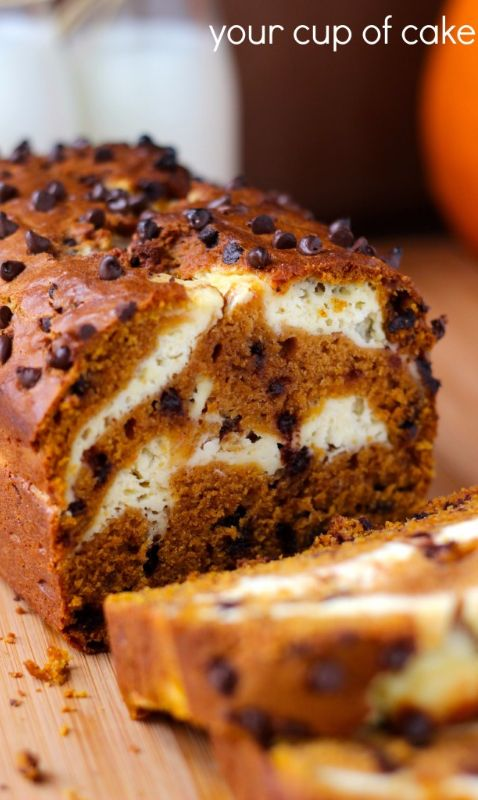 Cream Cheese Pumpkin Bread with mini chocolate chips, so perfect for fall!