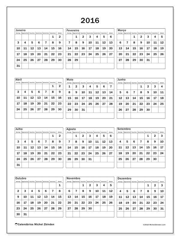 Livre! Calendários para  2016 para imprimir