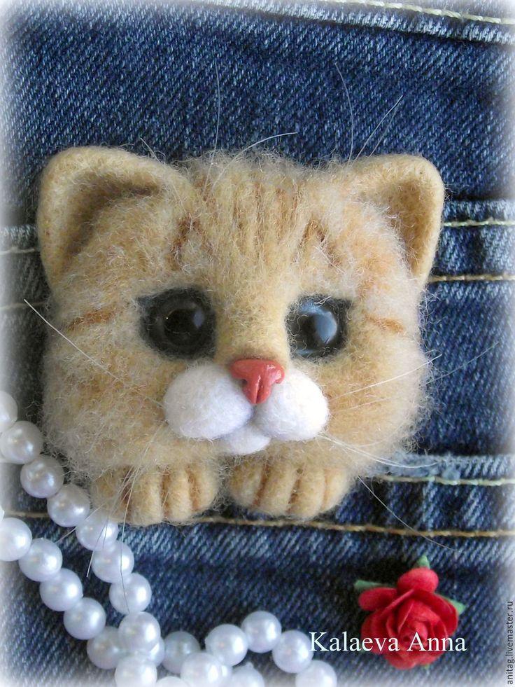 Купить Рыжий котик,брошь - рыжий, кот, котик, кот в подарок, котик из шерсти, брошь