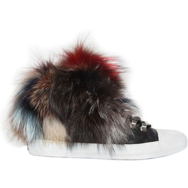 Black Dioniso Women 20mm Fox Fur & Leather Sneakers ($375) ❤ liked on Polyvore featuring shoes, sneakers, leather shoes, short heel shoes, leather footwear, leather trainers and small heel shoes