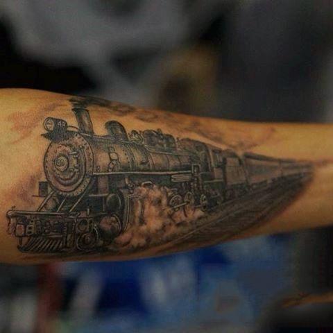 Forearm Mens Steam Train Tattoo