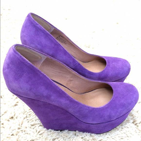 Steve Madden Pammyy Wedge Pump Purple suede wedge pumps. Good condition Steve Madden Shoes Wedges