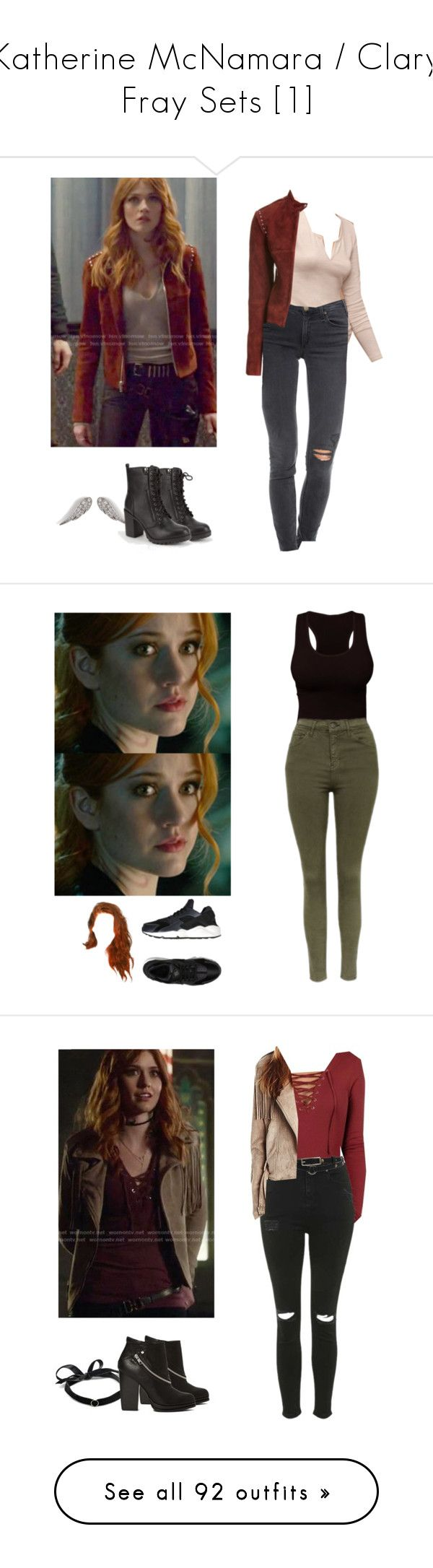 """Katherine McNamara / Clary Fray Sets [1]"" by demiwitch-of-mischief ❤ liked on Polyvore featuring McGuire, Theory, Anita Ko, Soda, Topshop, NIKE, Pilot, Mateo, Roxy and River Island"