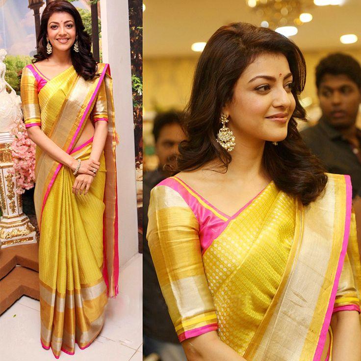 Kajal Aggarwal in a luscious yellow #Kanjeevaramsilksaree - Muah