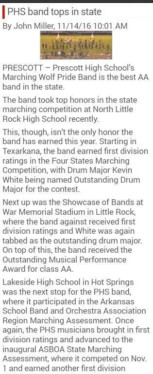 #PrescottArkansasStateChamps. Prescott High School Band takes state 2016