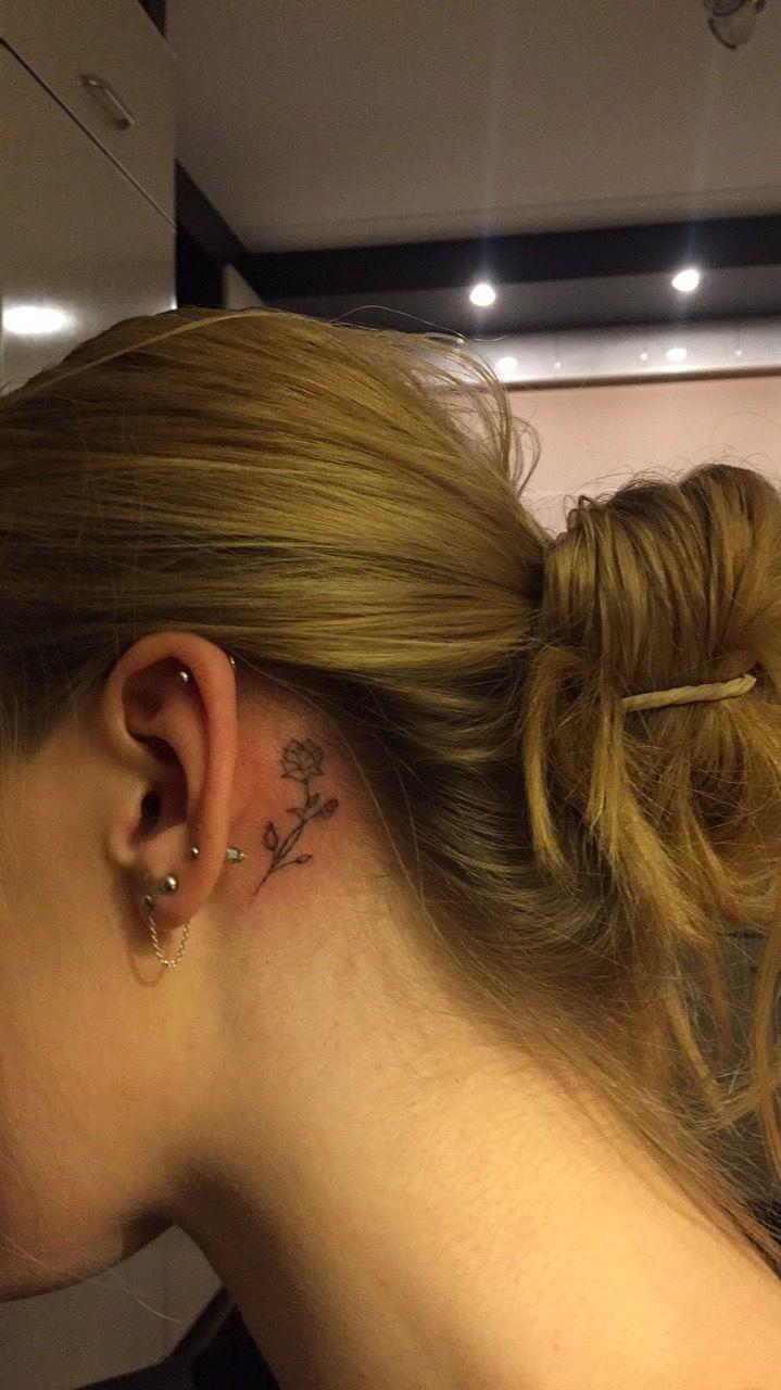 Rose Tattoo Behind Ear Tattoos Tattoos Rose Tattoos Small Tattoos