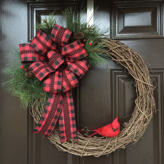 Christmas cardinal wreath grapevine christmas wreath for Old fashioned country christmas decorating ideas