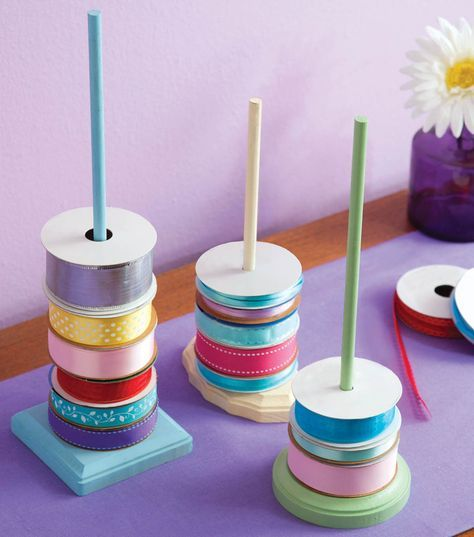 #DIY Storage Solution   Ribbon Storage Rods   Directions available at Joann.com   Supplies available at Joann.com or your local Jo-Ann Fabric and Craft Store