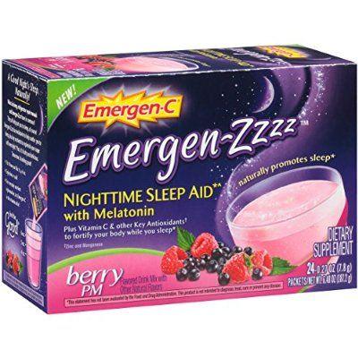 Emergen-Zzzz Nighttime Sleep Aid with Melatonin PM (Berry Flavor, 24-Count 0.27 oz. Packets)