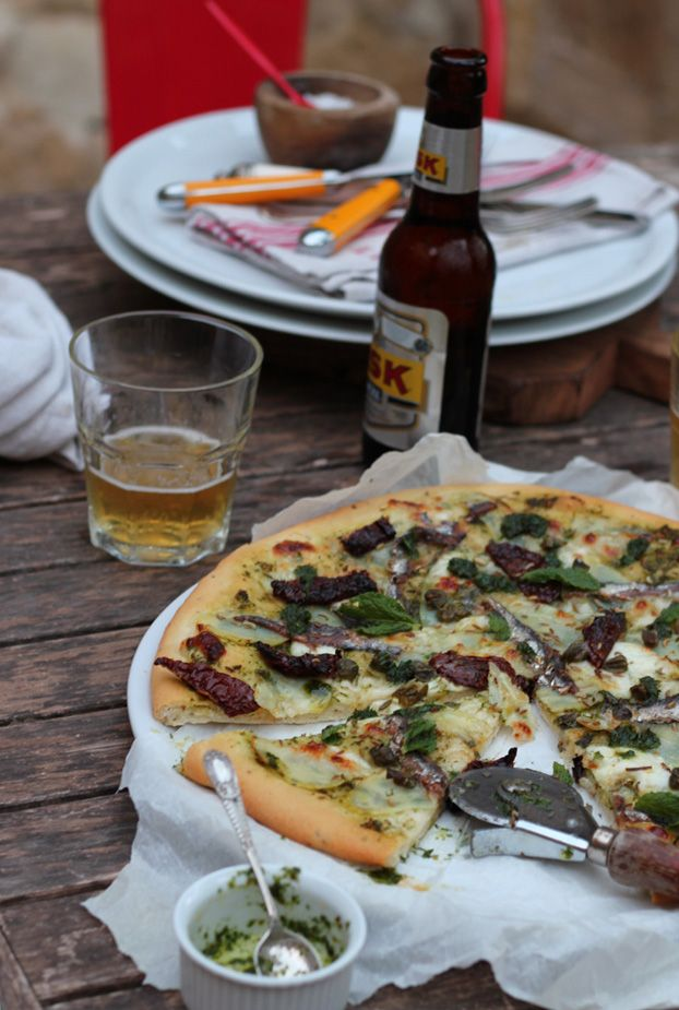 A Gozitan-style pizza my way! Pizza with potatoes, salted anchovies & goats cheese.
