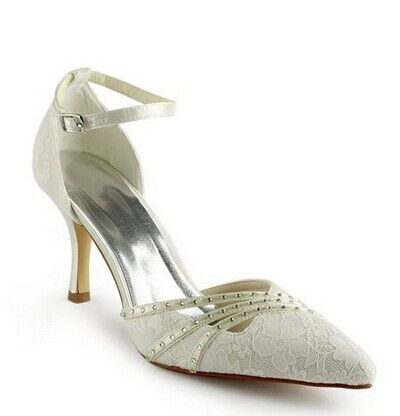 """Stunning Women's Wedding Shoes With Lace and Rhinestones Design Color: OFF-WHITE, BLACK, WHITE, RED, CHAMPAGNE, SILVER Size: 38, 37, 36, 35, 34, 41, 40, 39, 42 Category: Wedding & Events > Wedding Shoes   Gender: For Women  Pumps Type: D'Orsay & Two-Piece  Toe Style: Closed Toe  Toe Shape: Pointed Toe  Shoe Width: Medium(B/M)  Heel Type: Stiletto Heel  Heel Height Range: High(3-3.99"""")  Embellishment: Rhinestone    #laceweddingshoescheap #weddingshoes #cheapshoes #laceshoes #bridgat.com"""