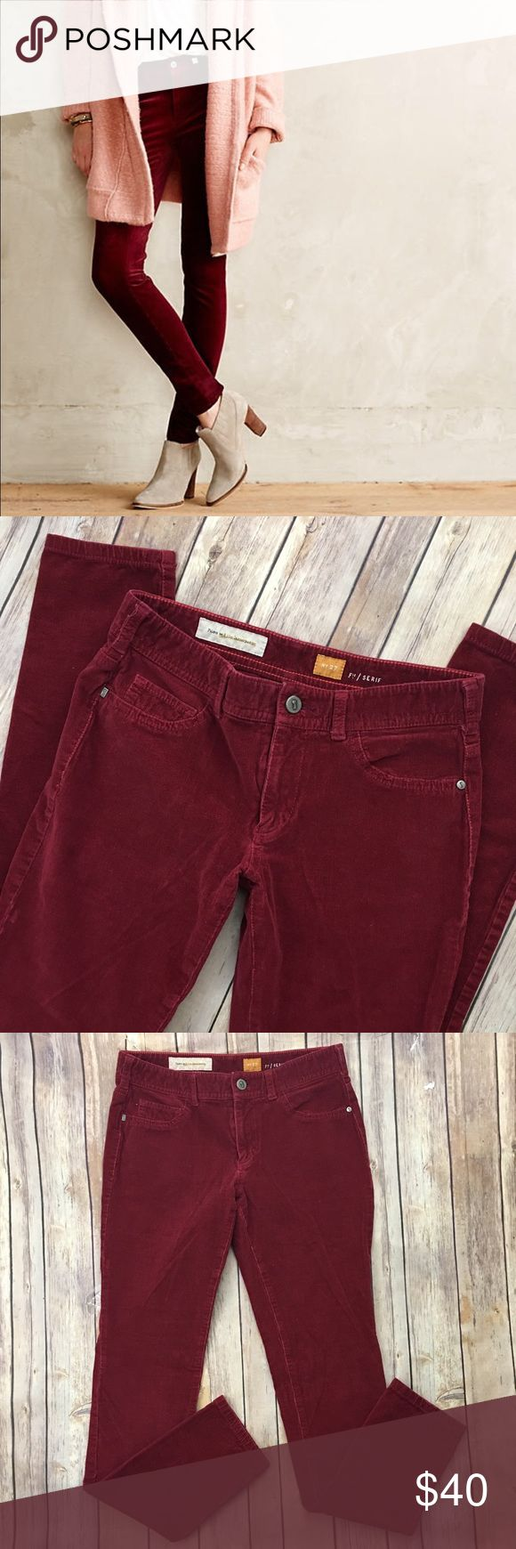 """Anthropologie Pilcro Serif Corduroy Leggings Red Tag size - 27 Waist measured across - 14.5"""" Inseam - 30"""" Rise - 8"""" Great used condition! Always open to reasonable offers. Anthropologie Pants Leggings"""