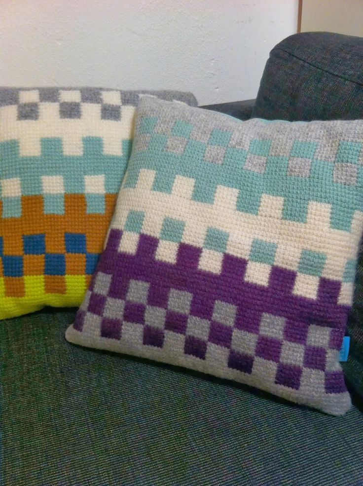 crocheted cushions A small sampling of the many chopped / Tunisian crochet pillows I gradually made.