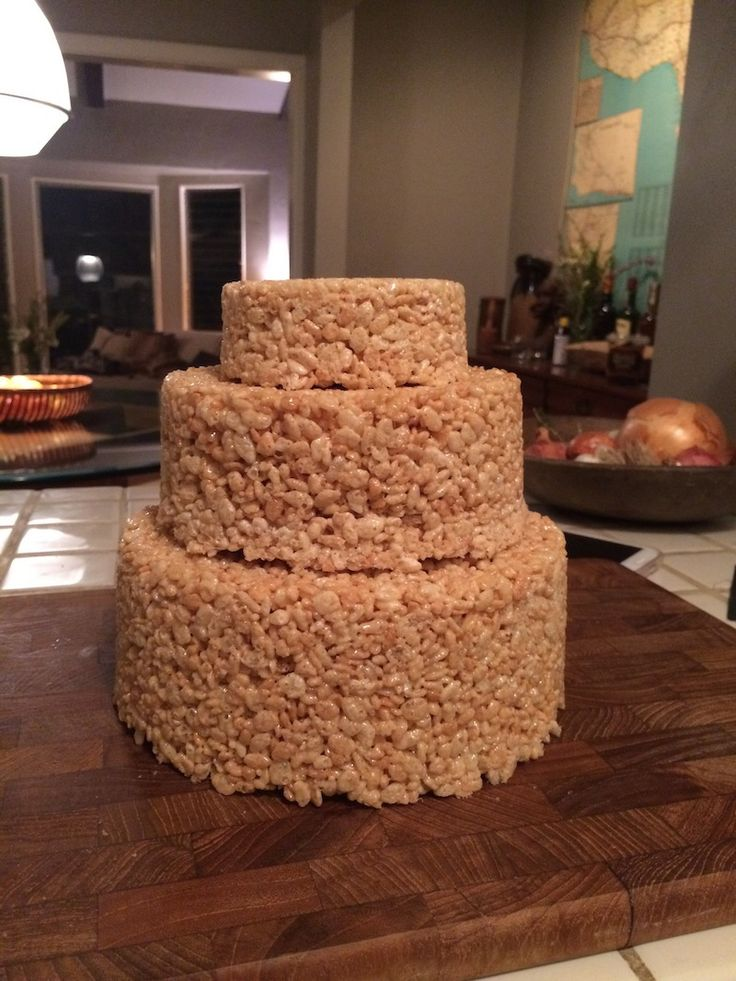 How to make a super-easy, yet very impressive, three-tiered Rice Krispie treat cake