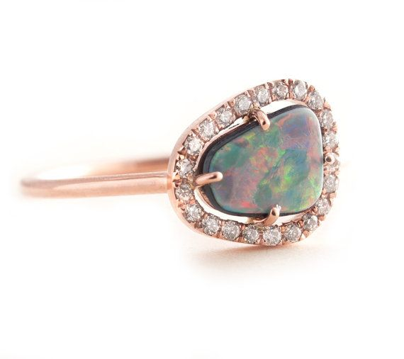 Opal Ring, Gold Opal Ring, Black Opal, Rose Gold Ring, Pave Ring, Diamonds Pave Ring, Engagement Ring on Etsy, $820.00