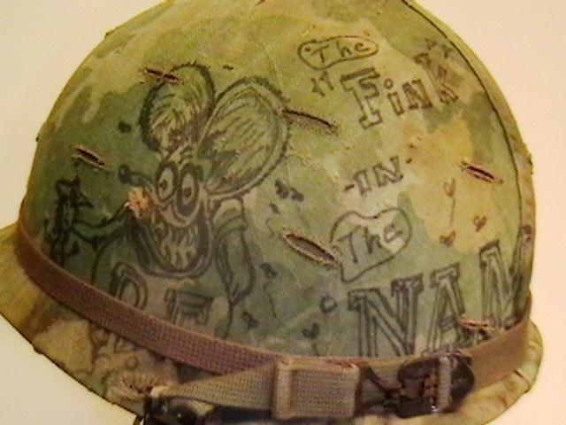 "Vietnam Helmet Art | Helmet Used in Vietnam with Original Graffiti on Helmet Cover. ""Rat Fink""! ~ Vietnam War"