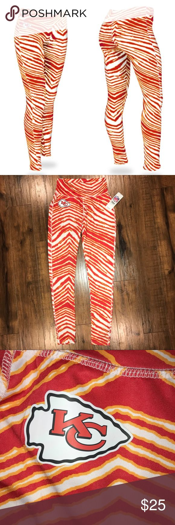 NFL Apparel Kansas City KC Chiefs Zubaz Leggings A few small holes on top of waist and from sensor. Let me know if you have any questions! NFL Team Apparel Pants Leggings