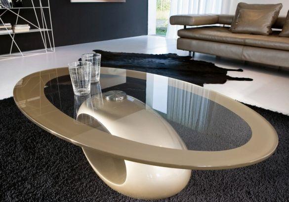 table basse ovale en verre avec pied ovoïde beige