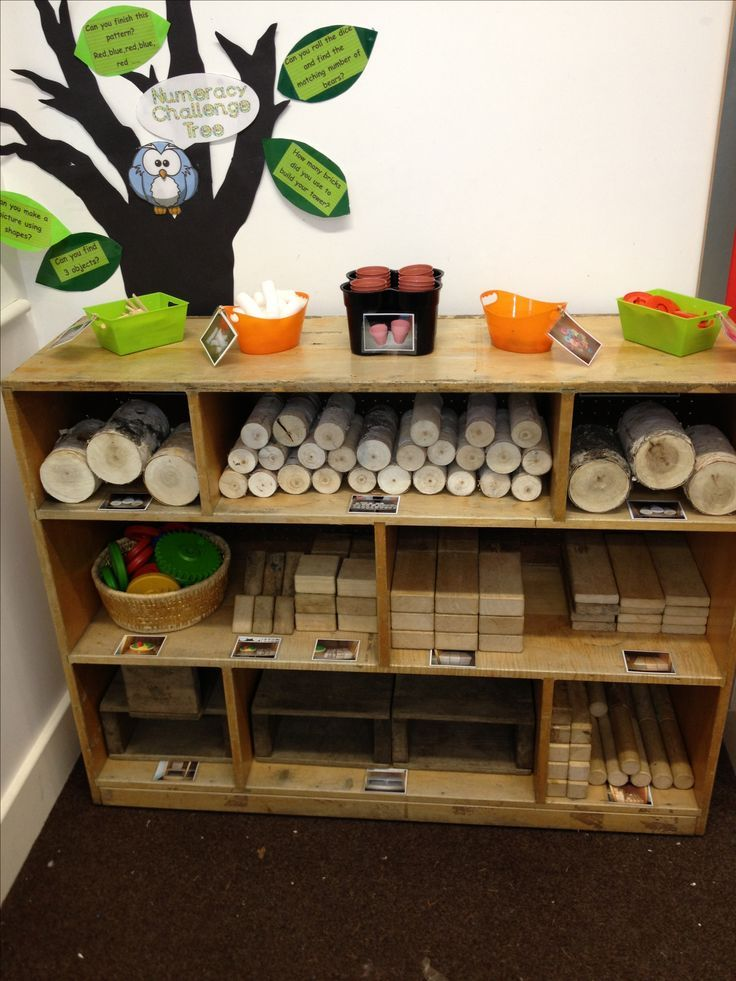 Lovely Block Play Area. Love the picture labels and questions a teacher can ask posted thoughtfully above the block shelf
