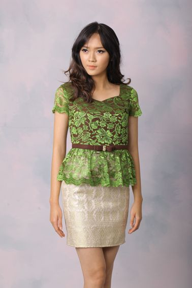 Clarabella 007 IDR 720.000 Body Fit Peplum Songket and Lace Comnbination Dress with Bow Tie Pearl Embellishment  Length of Dress : 90 cm  Material Used : (Top) Lace on Cotton Furring. (Bottom) Songket.  Standard zipper length (50-55cm) at the back.  Height of Model : 171 cm