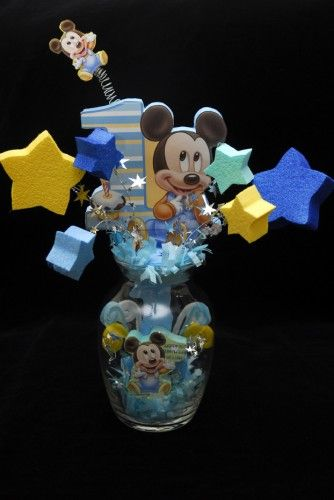 BABY MICKEY MOUSE 1ST BIRTHDAY GLASS VASE CENTERPIECE | Adianezh - Seasonal on ArtFire