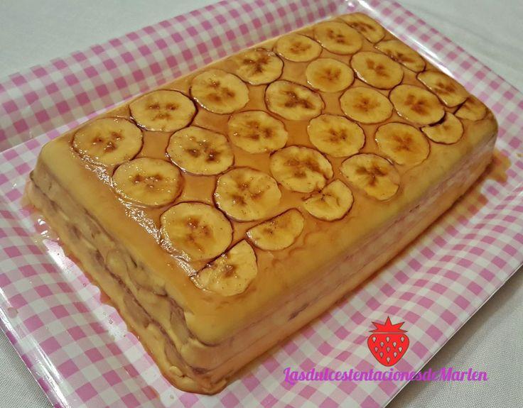 Superfácil de preparar y queda riquísima.          4 o 5 plátanos maduros    3/4 l. de leche   1 sobre de flan Royal   200 gr.galletas t...