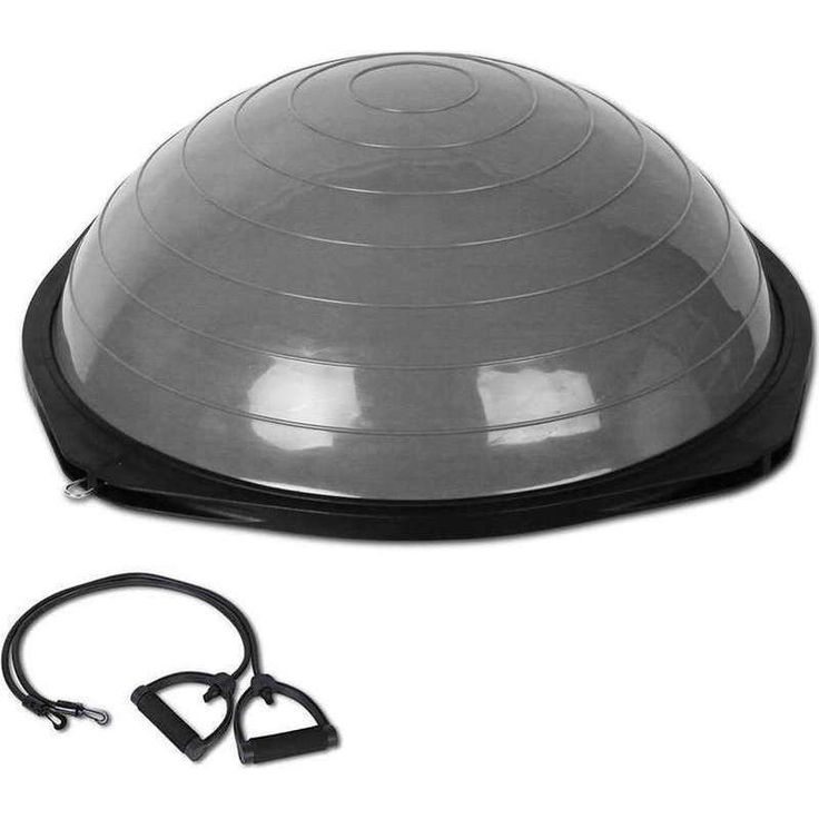 Exercise Bosu Ball with 2 Resistance Bands in Grey | Buy Gym & Fitness