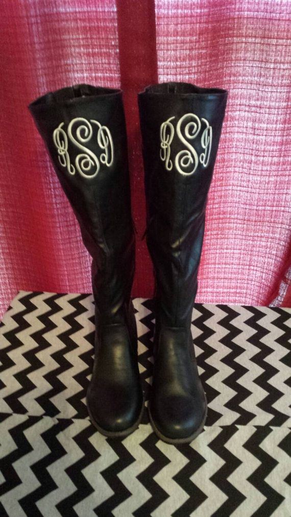 Black Monogrammed Ladies Riding Boots by MimisBoutiqueShop on Etsy