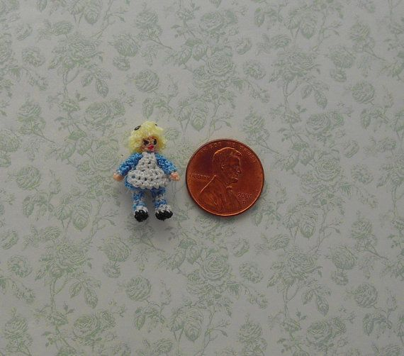 Micro Crochet Alice in Wonderland by margaretminibears on Etsy, $25.00
